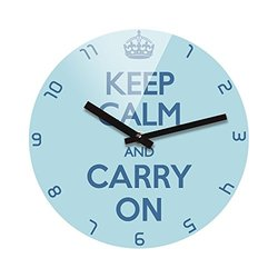 Refelx Non-Ticking Silent Acrylic Wall Clock, Large, Keep Calm and Carry on, Sky Blue