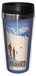 Tree-Free Greetings sg23337 Vintage Banff Canada Skiing by Paul A. Lanquist Stainless Steel Sip 'N Go Travel Tumbler, 16-Ounce, Multicolored