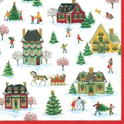 Caspari Cocktail Napkins, Snowy Village, Box of 40
