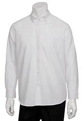 Chef Works? Men's Oxford Long Sleeve Shirt, White, Medium