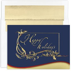 "16-Count Foil Lined ""Happy Holidays"" Boxed Greeting Cards"