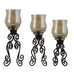 Piece Glass and Metal Candle Holder Set 3