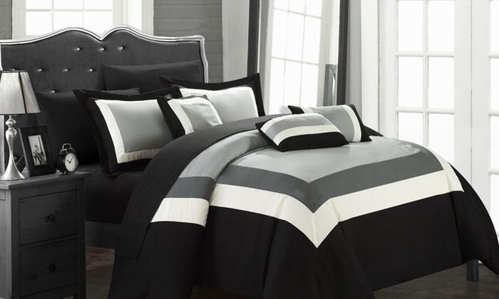 Danny 10 Piece Bed In A Bag Comforter Set Black