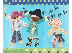 """Oopsy Daisy Pirate Boys Stretched Canvas Wall Art - 30"""" by 24"""""""