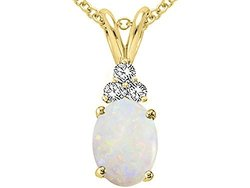 Tommaso Design 14KT Gold Oval Genuine Opal Pendant - Yellow/Gold