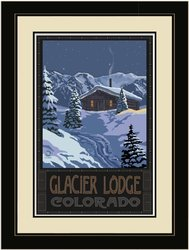 "20""x26"" Glacier Lodge Colorado Winter Mountain Cabin Framed Wall Art"