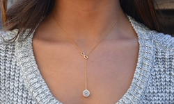 GM 14k Gold Plating Infinity Y Necklace with Swarovski Elements