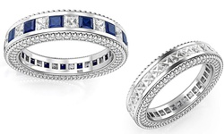 Swarovki 5.92 CTTW Eternity Band in Sterling Silver - Sapphire - Size: 8