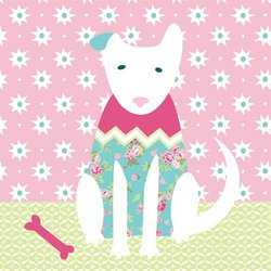 """Oopsy Daisy Kids Classic Dog Girl Stretched Canvas Art - Size: 14"""" x 14"""""""
