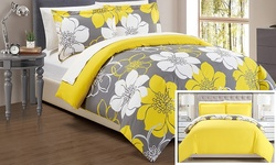 Chic Home Carnation Floral Printed Duvet Cover Set - Yellow - Size: king