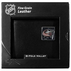 Columbus Blue Jackets Leather Bi-fold Wallet - Black