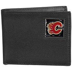 NHL Calgary Flames Men's Leather Bi-Fold Wallet - Black