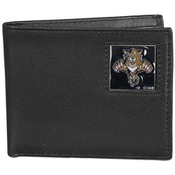 NHL Florida Panthers Men's Leather Bi-Fold Wallet - Black
