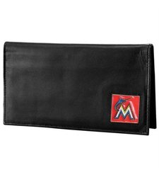 Florida Marlins Official MLB Leather Checkbook Cover - Black