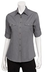 Chef Works WPDS-GRY-XL Double Pocket Women's Shirt, Grey, X-Large