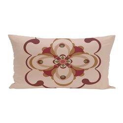 E By Design Kaleidoscope Too Geometric Print Outdoor Seat Cushion - Brick