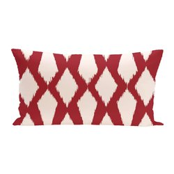 E By Design Geometric Decorative Outdoor Seat Cushion - Red - Size: One