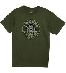I Love Guns & Coffee Men's T-Shirt - Military Green - Size: X-Large