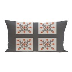 E By Design 4 Square Geometric Print Seat Cushion - Steel Grey - Size: One