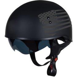 TORC Spec Op Half Helmet w Flag Graphic - Flat Black - Size: Large
