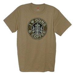 I Love Guns & Coffee Men's T-Shirt - Desert Sand - Size: XX-Large