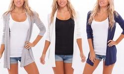 Apparel Brands Women's Spring Cardigan 2 Pcs - Navy/Heather Beige -Size: S