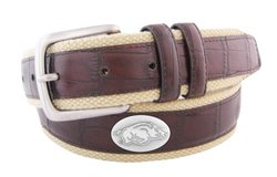 NCAA Arkansas Razorbacks Croc Leather Webbing Concho Belt - Brown - 34""