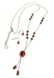 Linpeng Fiona Hand Painted Christmas Tree Beads Necklace & Earrings Set