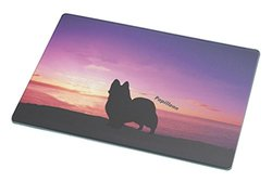Rikki Knight Papillon Dog at Sunset Large Glass Cutting Board