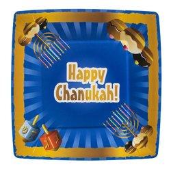 "Blue Sky Happy Chanukah Square Paper Plates - 7.5"" - 20Ct"