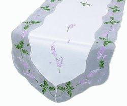 Xia Home Fashions Lavender Embroidered Collection Cutwork Table Runner, 15 by 54-Inch