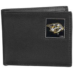 NHL Nashville Predators Leather Bi-Fold Wallet - Black