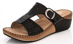 Lady Godiva Women's Comfort Wedge Sandal - Black - 8