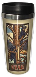 Tree-Free Greetings sg23207 Vintage Utah Bear Cubs in Tree by Paul A. Lanquist Stainless Steel Sip 'N Go Travel Tumbler, 16-Ounce, Multicolored