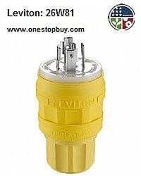 LEVITON 26W81 Locking Plug, L2120P, 120/208V, 3Ph, YLW