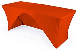 "LA Linen Open Back Spandex Tablecloth - Orange - 48"" x 24"" x 30"""