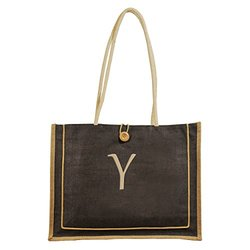 Cathy's Concepts Personalized Newport Jute Tote Bag, Monogrammed Letter Y, Brown