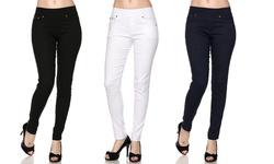 Women_s Slimming Skinny Pants - Black/White/Navy - Size: S/M - Packof 3