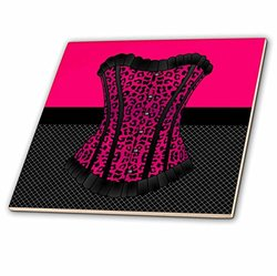 ct_58704_4 Pink and Black Cheetah Print Corset on Black Fishnet Ceramic Tile, 12""