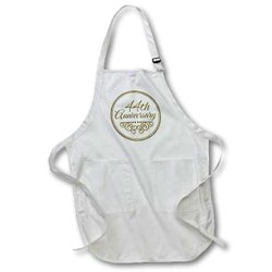 44th Anniversary Gift - Gold Text for Celebrating Wedding Anniversaries - 44 Years Married Together - Medium Length Apron, 22 by 24-Inch, with Pouch Pockets (apr_154486_2)