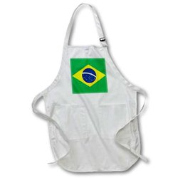 3dRose Apron with Pouch Pockets - White - Size: Medium