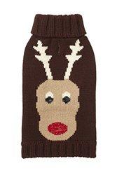 "Fab Dog Holiday Reindeer Knit Turtleneck Dog Sweater, Chocolate, 18"" Length"