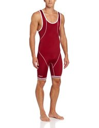 ASICS Men's Snap Down Wrestling Singlet (Cardinal/White), XX-Small