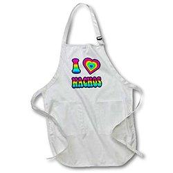 Groovy Hippie Rainbow I Heart Love Nachos - Medium Length Apron, 22 by 24-Inch, with Pouch Pockets (apr_217467_2)