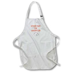 """apr_172350_2 Every Day I'm Shufflin, Picture of Deck of Cards, Orange Lettering Medium Length Apron, 22 by 24"""", with Pouch Pockets"""