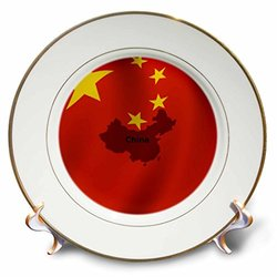 """cp_204504_1 Chinese Flag Porcelain Plate, 8"""""""