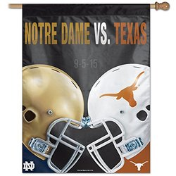 NCAA Notre Dame Fighting Irish vs. Texas Longhorns Rivalry Vertical Flag, 27 x 37-Inch