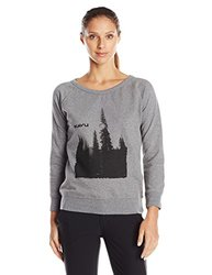 KAVU Women's Lounge Around Sweater, Gray, Large