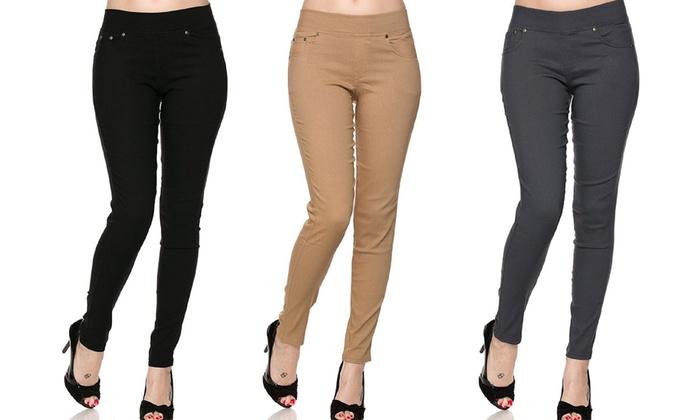 10cb850c181 Women s Slimming Skinny Pants - Multi Color - Size  1X 2X - Set of 3 ...