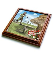 "trv_51571_1 The Big Bad Wolf Blowing The House Down Trivet with Ceramic Tile, 8 x 8"", Brown"